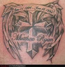 memorial tatoos tatto design of winged cross memorial tattoo