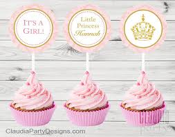 princess baby shower personalized royal princess cupcake toppers pink and gold