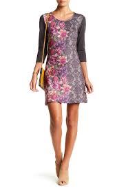 papillon damask u0026 floral print sweater dress nordstrom rack