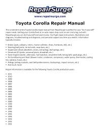 toyota corolla repair manual 1990 2011
