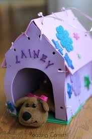 make your own stuffed animal house and carrier reading confetti