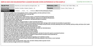 Housekeeping Resume Templates Casino Housekeeping Resumes Samples