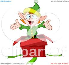 clipart of a cartoon surprise christmas elf popping out of a gift