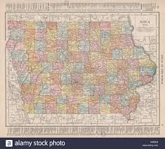 Iowa Counties Map Iowa State Map Showing Counties Rand Mcnally 1912 Old Antique