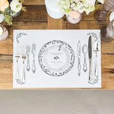 table setting placemat personalized antique chic paper placemat table setting pack of 12