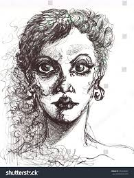 pencil sketch portrait angry drawing stock illustration