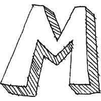 large block letter m alphabet coloring