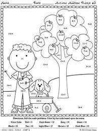 autumn addition math printables color code puzzles