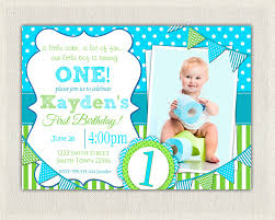 First Birthday Invitation Cards For Boys Boys 1st Birthday Invitation Blue And Green Dots Stripes