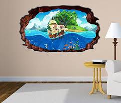 kinderzimmer pirat 3d wandtattoo kinderzimmer pirat schiff schatzkarte meer bild