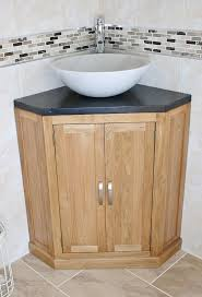 corner modern bathroom vanities with vessel sink and black granite
