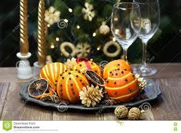 Pomander Balls Orange Pomander Balls Christmas Table Decoration Stock Photo