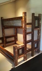 perpendicular twin over queen rustic barnwood bunk beds
