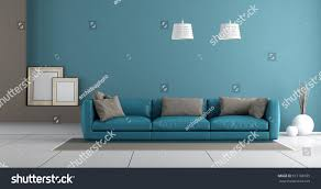 Leather Sofa With Pillows by Blue Modern Living Room Leather Sofa Stock Illustration 617168105