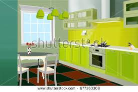 Design Of Modern Kitchen Flat Kitchen Vector Background Download Free Vector Art Stock