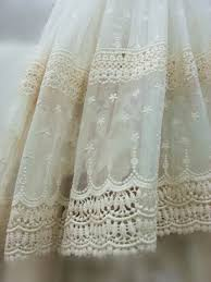 Antique Lace Curtains Ivory Lace Fabric Embroidered Tulle Lace Fabric Vintage Lace