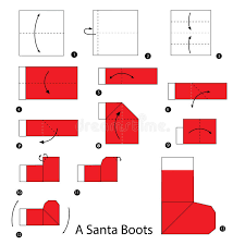 How To Make A Origami Santa - step by step how to make origami a santa boot stock