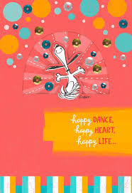 peanuts happy thanksgiving snoopy happy dance birthday card greeting cards hallmark