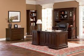 Home Office Desks Wood Brown Wood Desk Set Classic Paneled Home Office Furniture