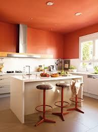 peinture orange cuisine peinture cuisine avec meubles blancs 30 idées inspirantes orange