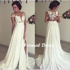 white lace prom dress formal dress white prom dress a line chiffon lace