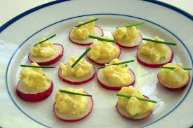 canape recipes egg salad on radish slices canape recipe on food52