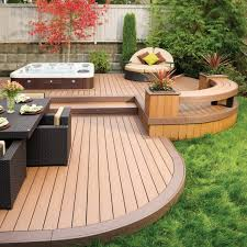 Curved Bench With Back Bathroom Back Yard Wooden Deck With Tub And Curved Bench With
