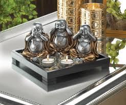 see hear speak no evil buddha figurine candle holder u0026amp stones