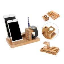 premium wooden 4 in 1 usb 4 port micro hub charging watch stand