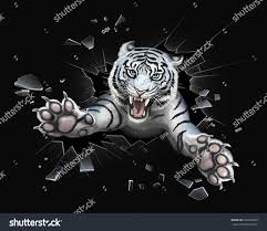white tiger jumping through glass stock illustration 525222892
