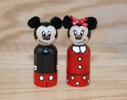 mickey mouse and minnie mouse peg doll