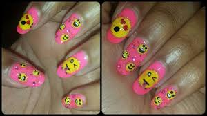pink emoji nail art designs youtube