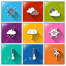 illustration of different color forecast icons royalty free
