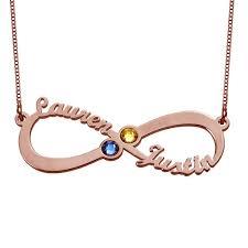 Infinity Name Necklace Infinity Name Necklace With Birthstones Rose Gold Plating