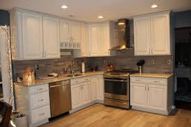 Kitchens With Tile Backsplashes Full Kitchen View Lady Grey Brushed Stone Tile Backsplash