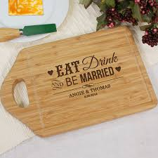 cutting board wedding gift drink and be married personalized bamboo cutting board wedding gift