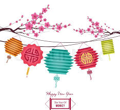 lantern new year new year background with lantern and plum blossom stock