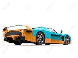 maserati turquoise turquoise concept super car with orange details back view low