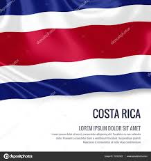 Costa Rico Flag Costa Rica Flag Silky Flag Of Costa Rica Waving On An Isolated