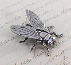 vintage sterling fly brooch large silver insect pin bohemian