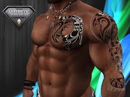 second life marketplace tribal color tattoo 4 chest and left arm