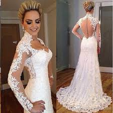 Vintage Lace Wedding Dress 2016 Berta Mermaid Wedding Dresses Vintage Real Photos High Neck