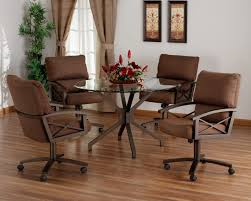 swivel chair casters dining room contemporary round glass table 2017 with 48 set