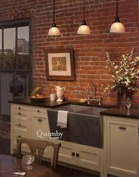exposed brick wall lighting gorgeous triple white glass pendant lighting over white kitchen