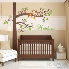 Personalized Nursery Wall Decals Monkey Wall Decal Jungle Tree Personalized Nursery Baby Room Decor
