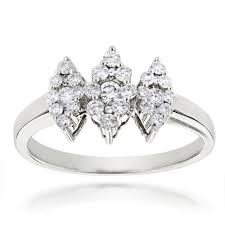 14k gold cluster ring 0 63ct three ring design