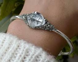 quartz diamond bracelet images Herkimer diamond etsy jpg