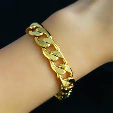 classic link bracelet images 12mm wide classic cuban link chain bracelet men women yellow gold jpg