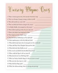 printable baby shower nursery rhyme quiz game unique printable