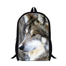 2017 wolf design cool backpack for boys fashion